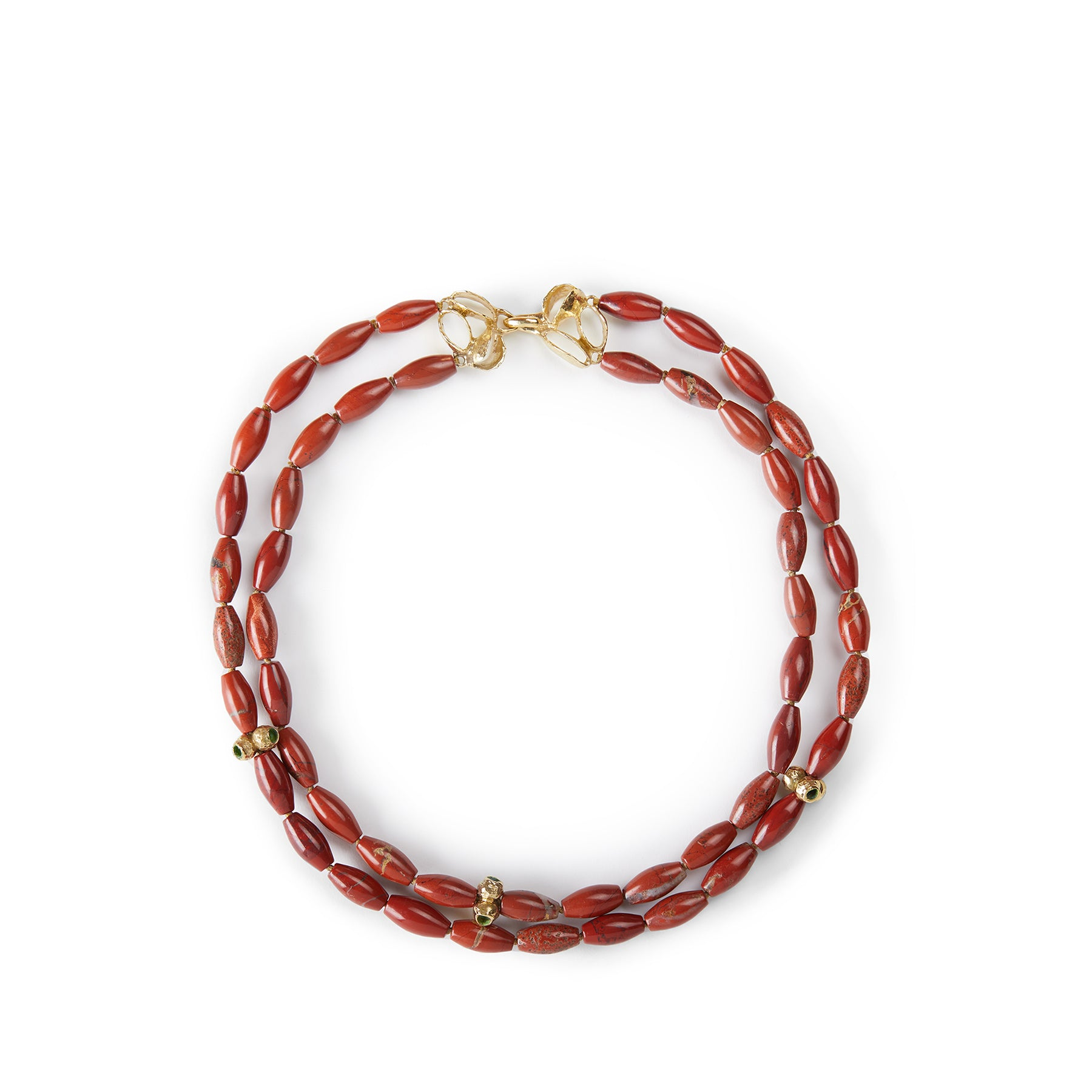 Red Jasper Necklace with Banksia Clasp and Tripod Beads Zoom Image 1