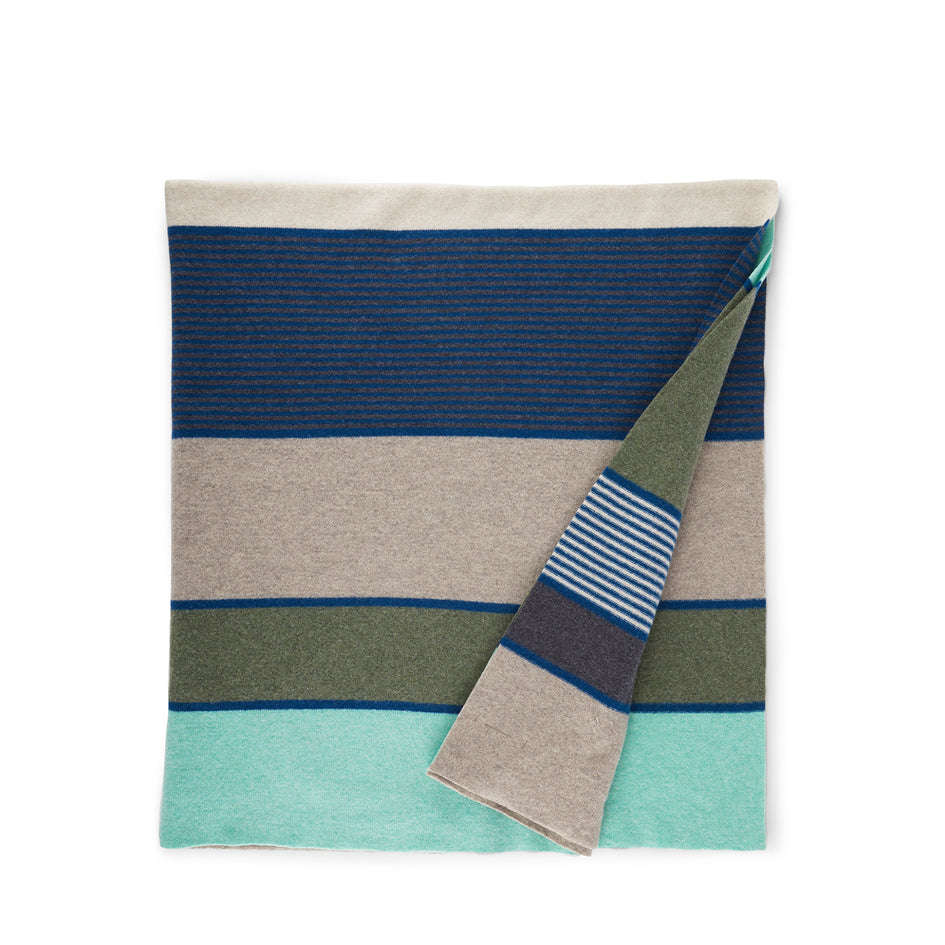 Merino Lambswool Regatta Throw in Penny Green Image 1