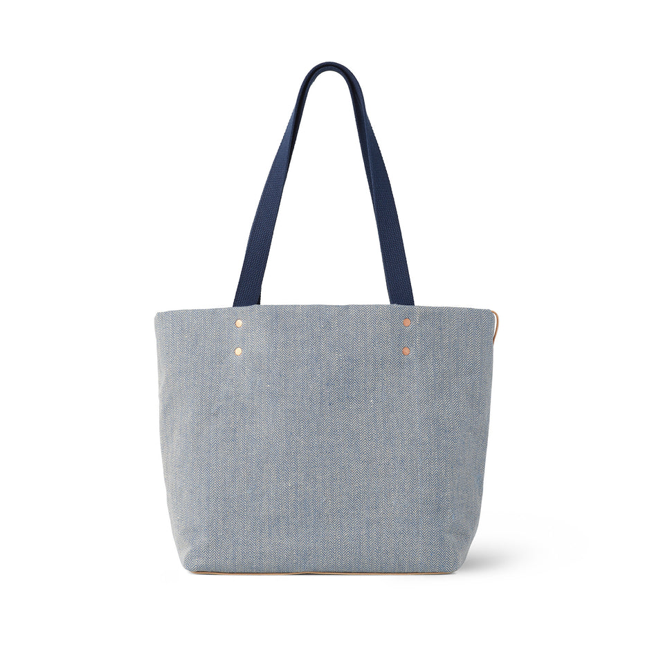 Linen Reversible Tote in Heron Blue Image 3