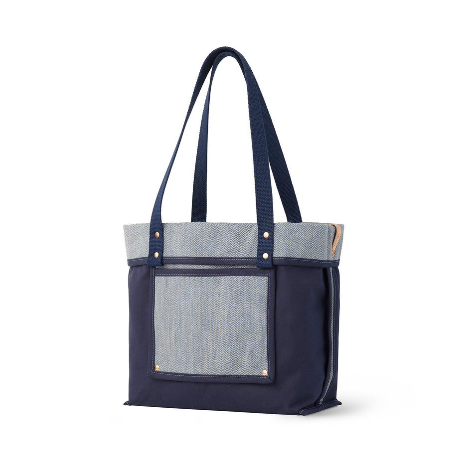 Linen Reversible Tote in Heron Blue Image 1