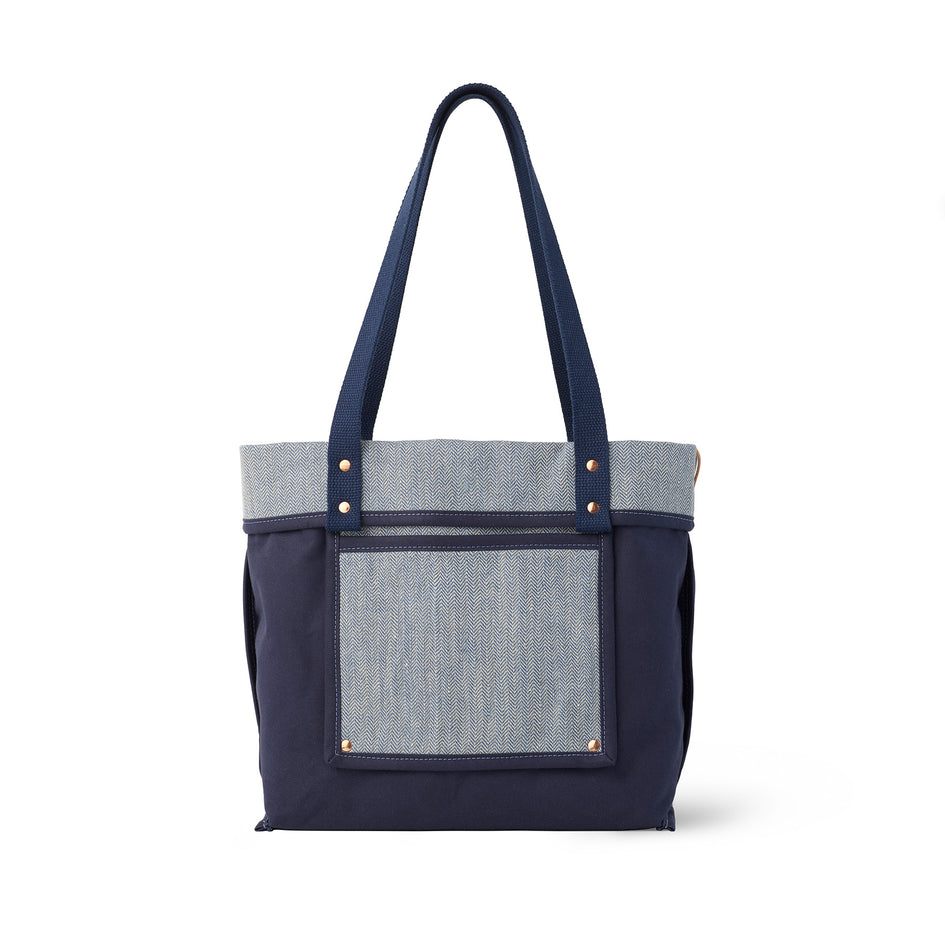 Linen Reversible Tote in Heron Blue Image 4
