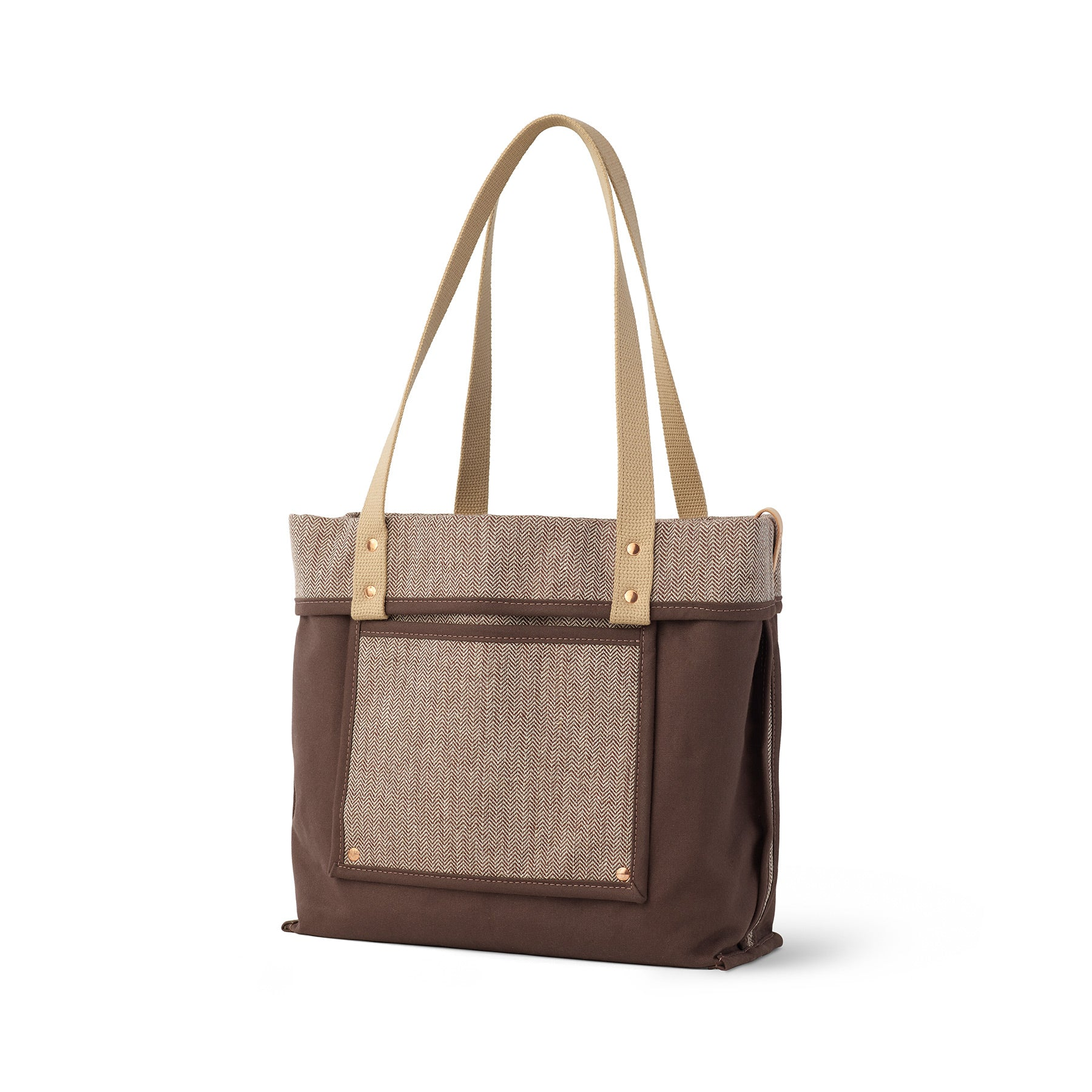 Linen Reversible Tote in Hickory Zoom Image 1