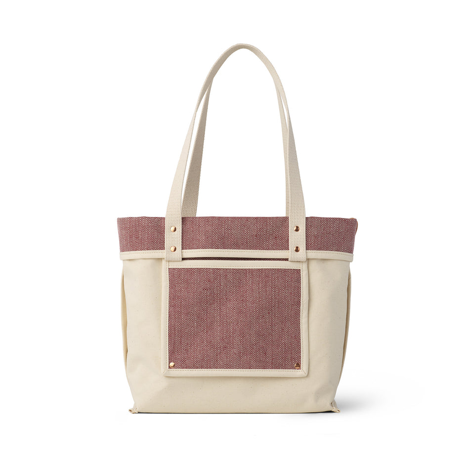 Linen Reversible Tote in Pomegranate Zoom Image 4