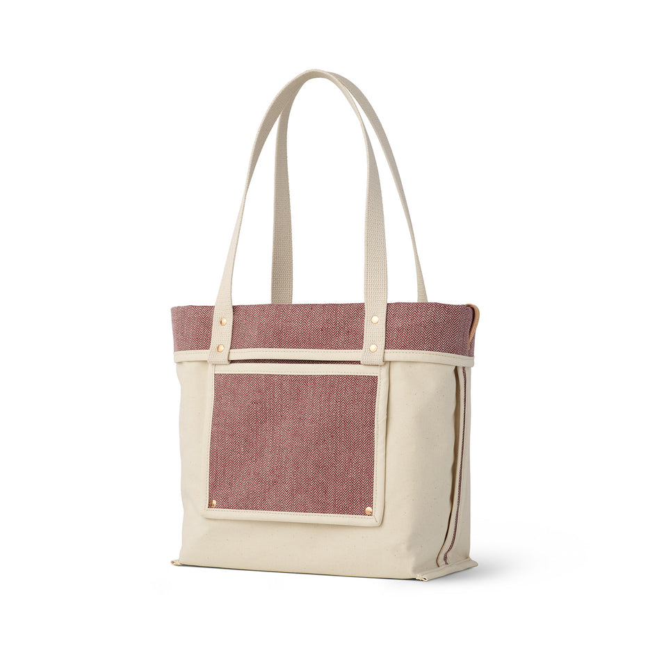 Linen Reversible Tote in Pomegranate Image 1