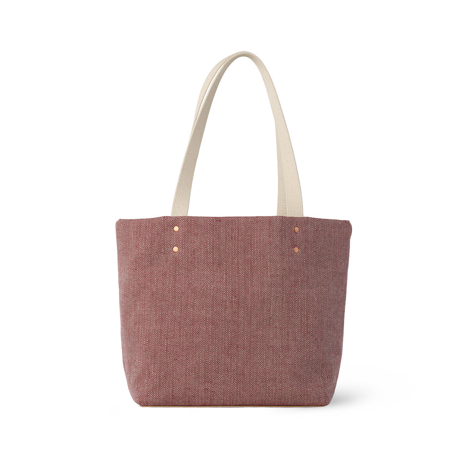 Linen Reversible Tote in Pomegranate Image 3