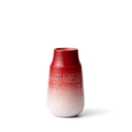 Neck Vase in Ruby Red Layered Glaze