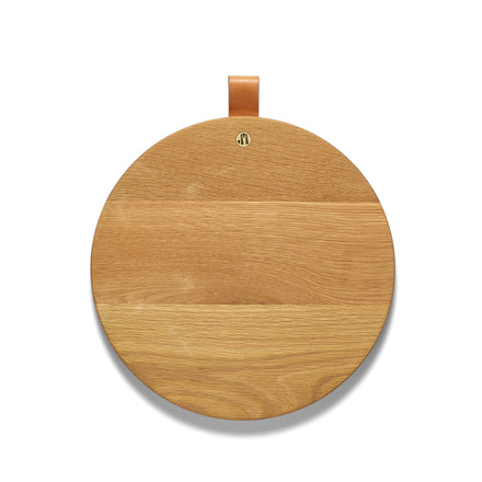 Round White Oak Cutting Board with Leather Tab