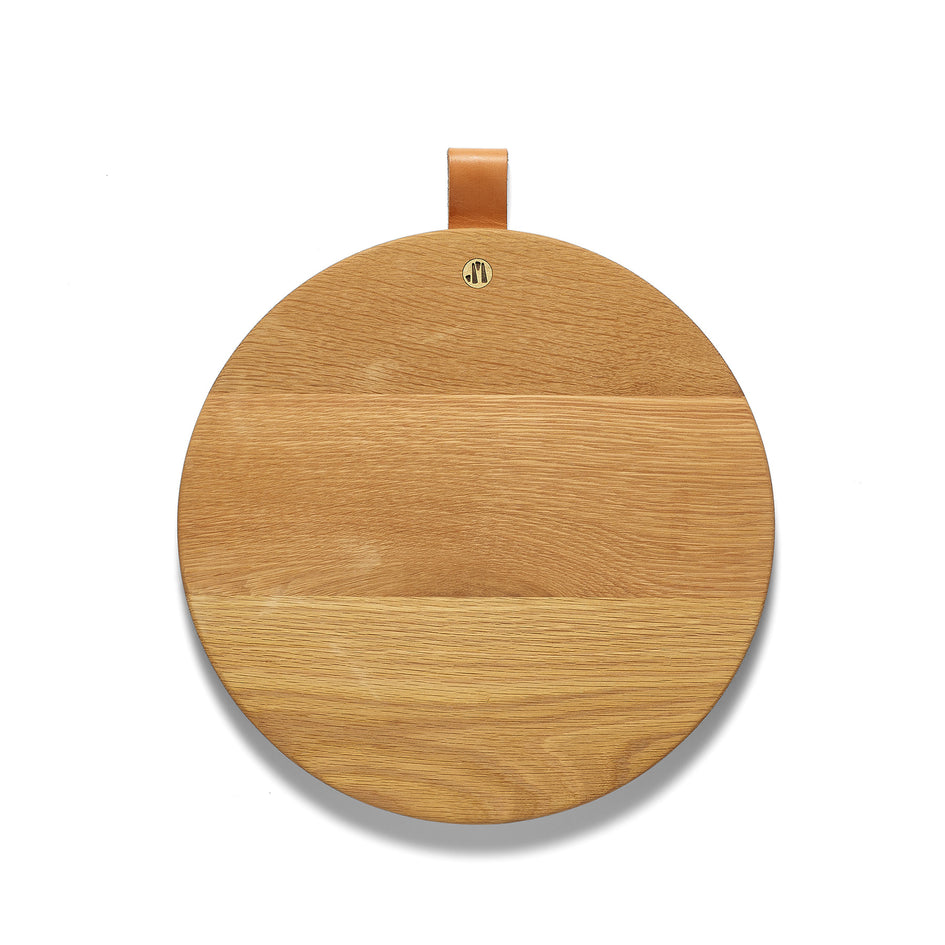 Round White Oak Cutting Board with Leather Tab Image 1