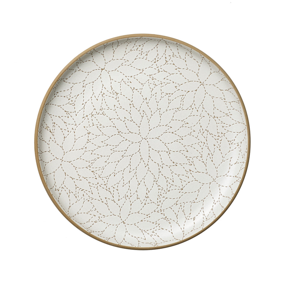 Camellia Etched Serving Platter in Opaque White Image 1