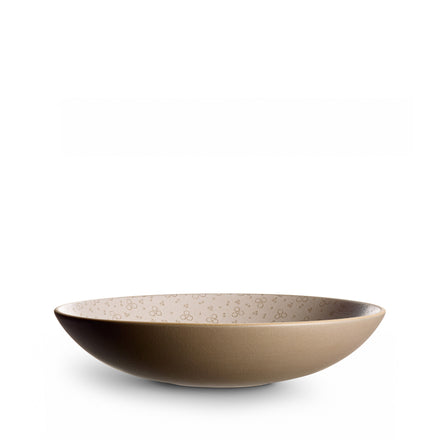 Rosebud Etched Shallow Salad Bowl in Cocoa