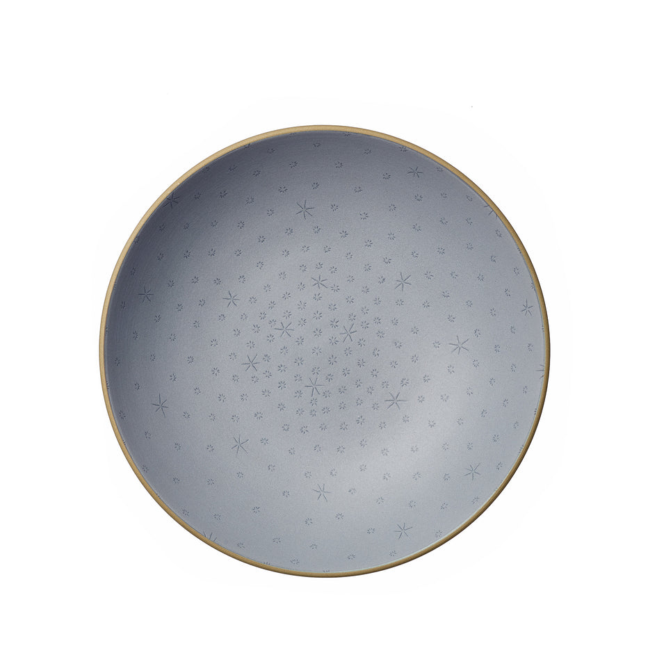 Stitched Etched Shallow Salad Bowl in Indigo Zoom Image 2