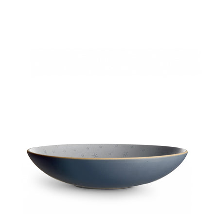 Stitched Etched Shallow Salad Bowl in Indigo