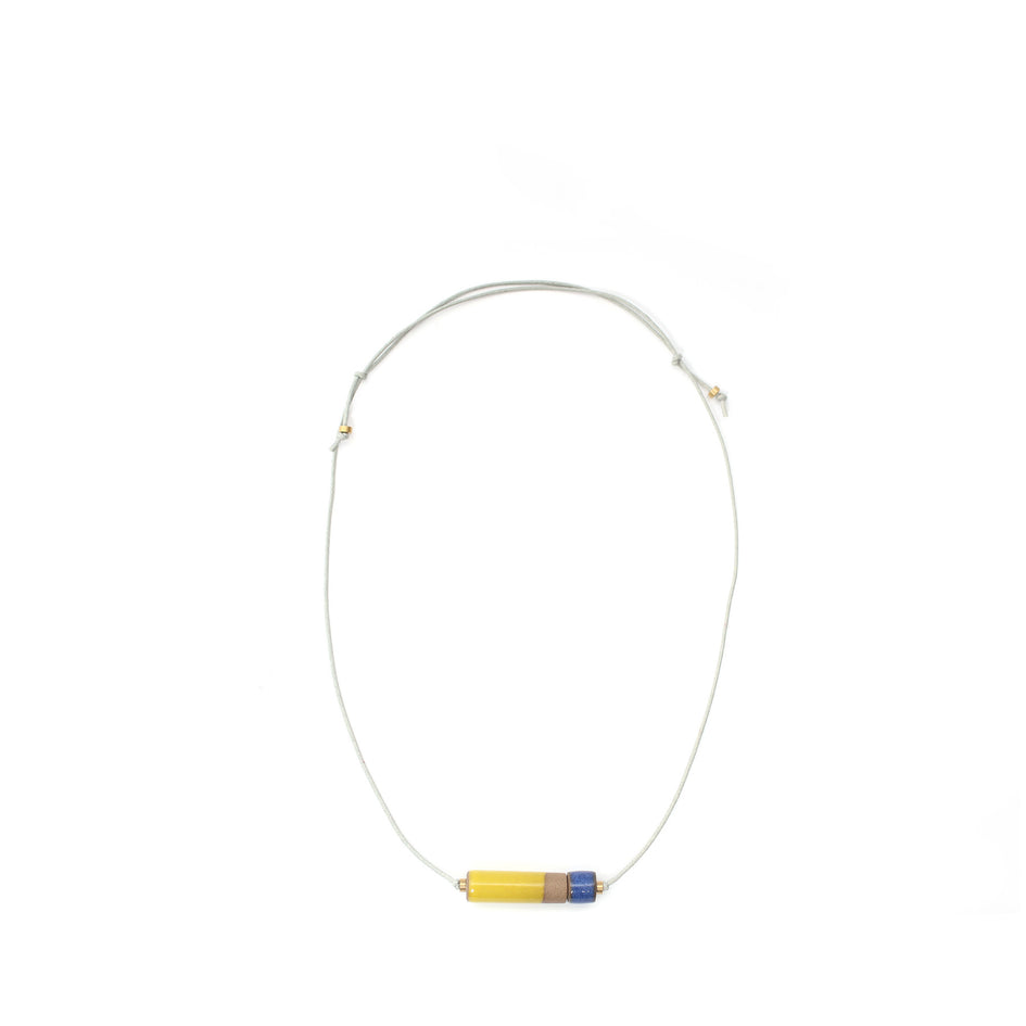 Small Barrel Necklace in Bright Yellow/Moonstone Image 1