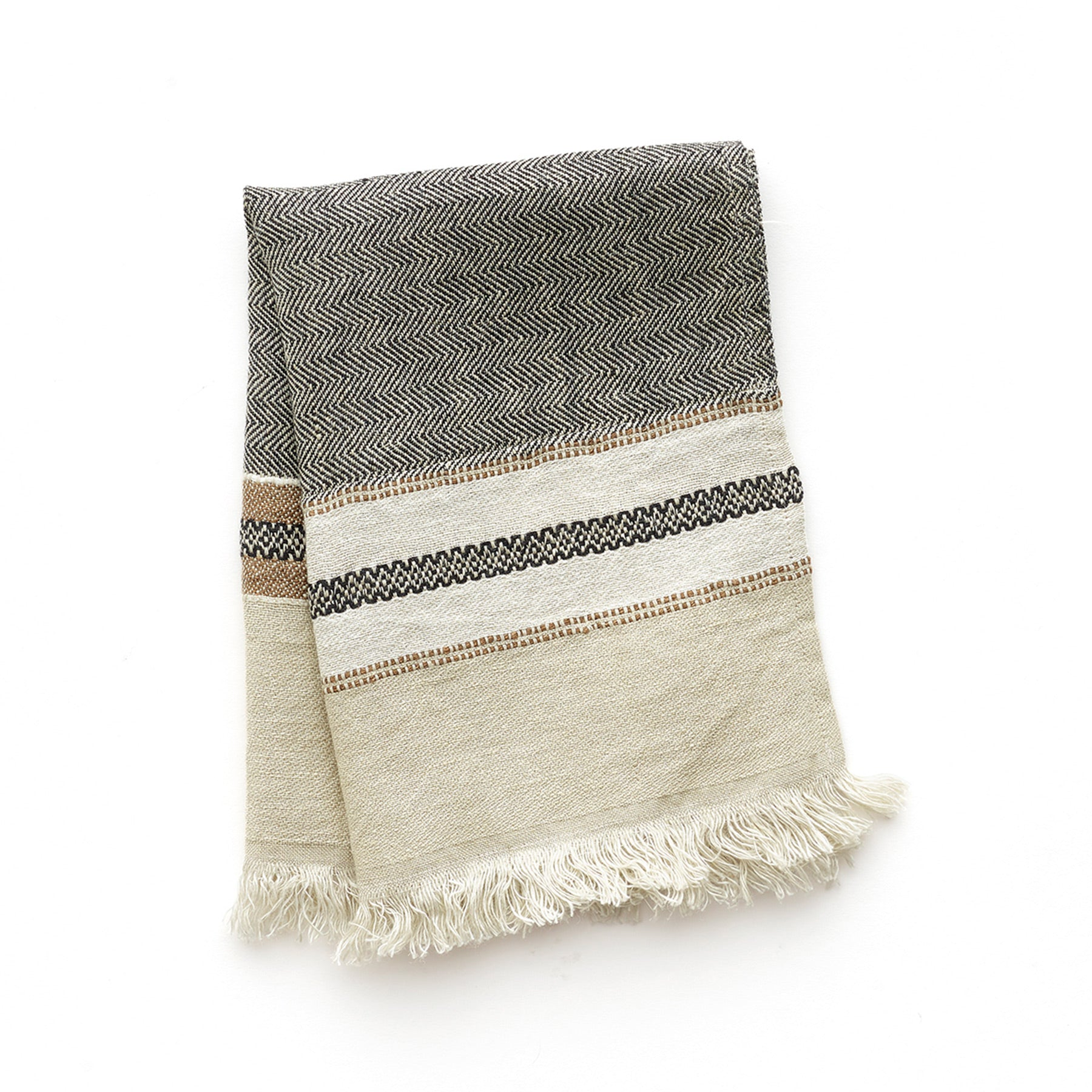 Small Linen Fouta Guest Towel in Beeswax Stripe Zoom Image 1