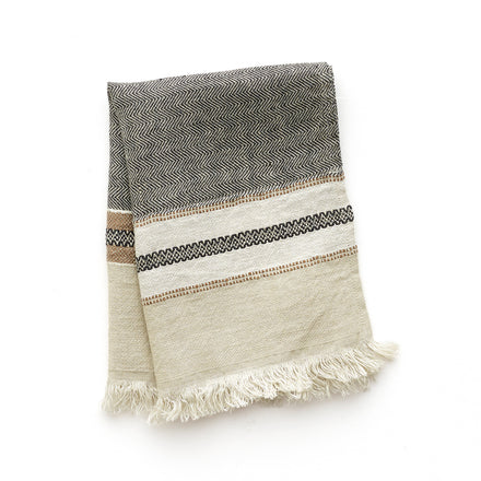 Small Linen Fouta Guest Towel in Beeswax Stripe