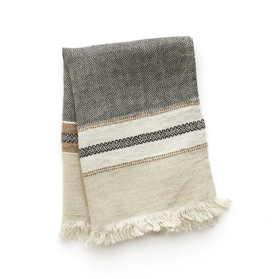 Small Linen Fouta Guest Towel in Beeswax Stripe Image 1