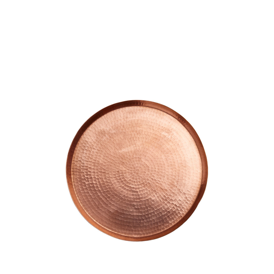 Small Hammered Copper Round Tray Image 1