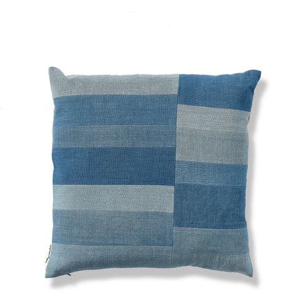 Split Stripe Patchwork Pillow in Blue