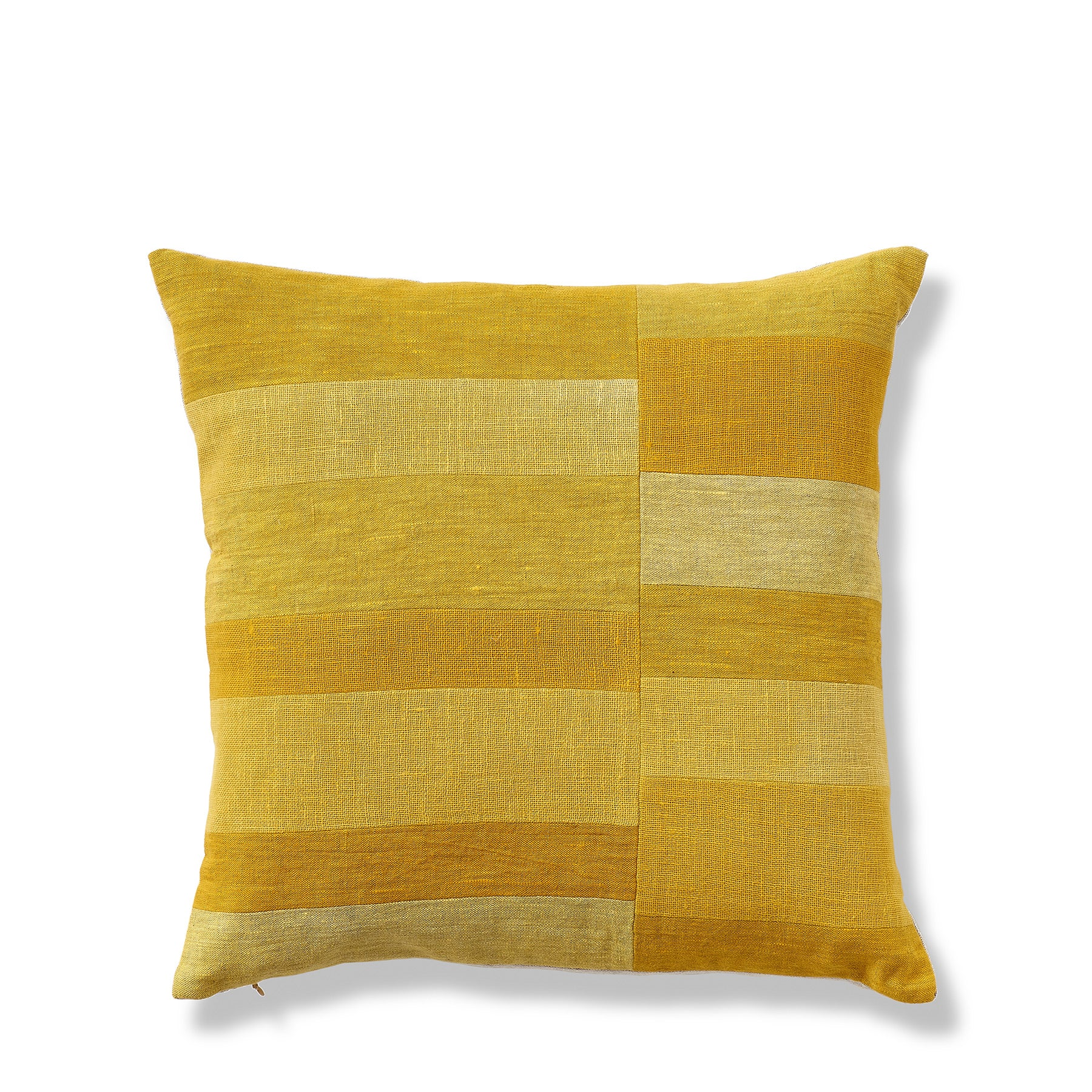 Split Stripe Patchwork Pillow in Yellow Zoom Image 1