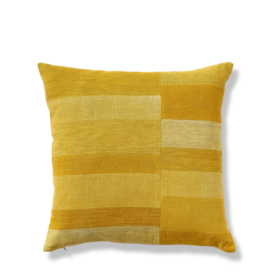 Split Stripe Patchwork Pillow in Yellow Image 1