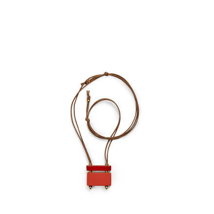 Stack Bar Necklace in Suede Red
