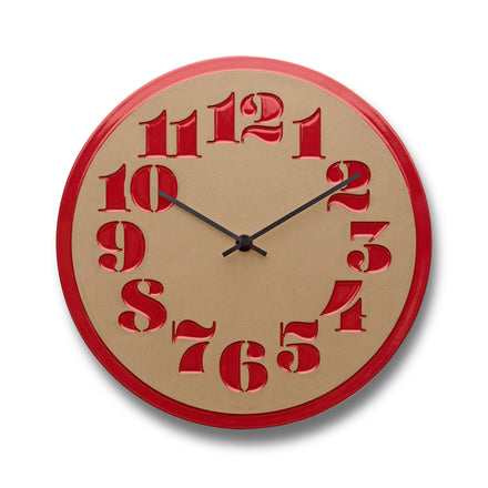 Stencil Clock in Campari Red