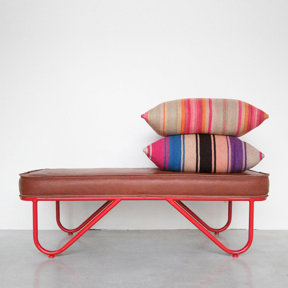 Upholstered Leather Bench Image 1