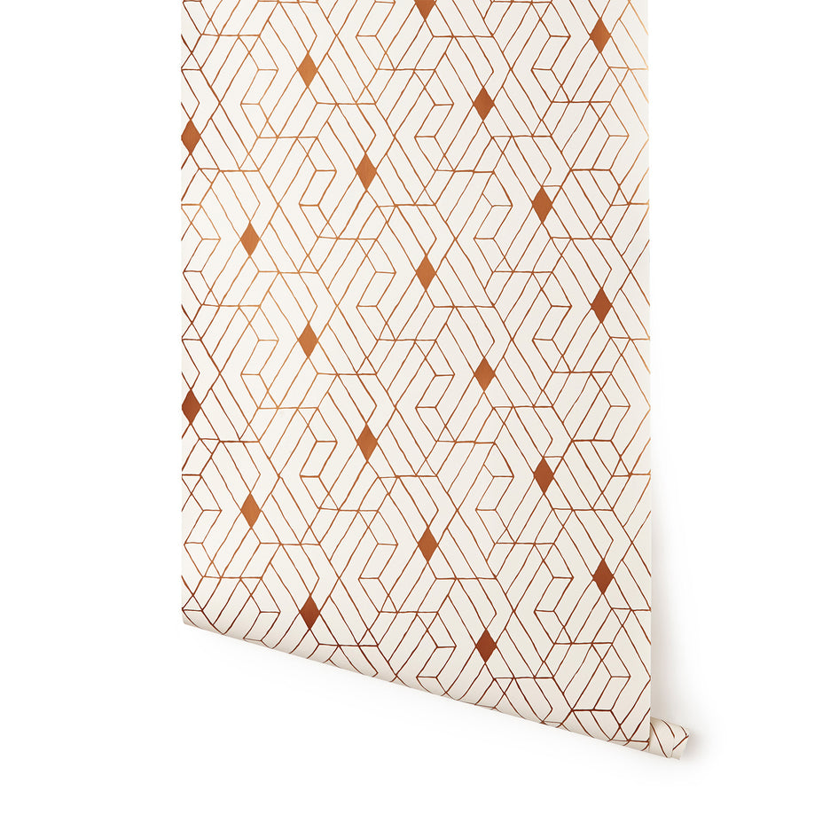 Wallpaper in Copper Quilt Image 1