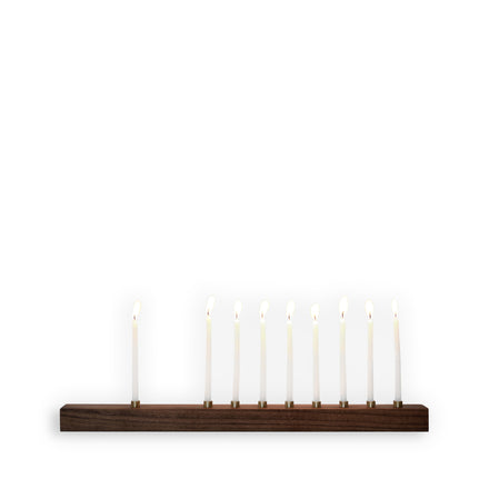 Walnut and Bronze Menorah
