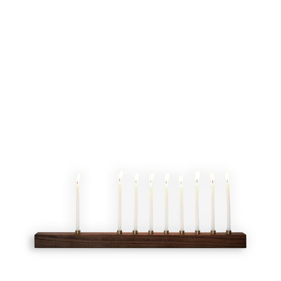 Walnut and Bronze Menorah Image 1