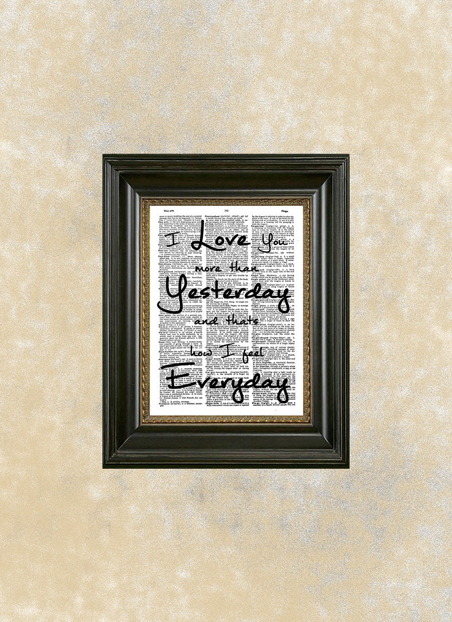 Love Quote Dictionary Art I Love You More Than Yesterday Wall Art