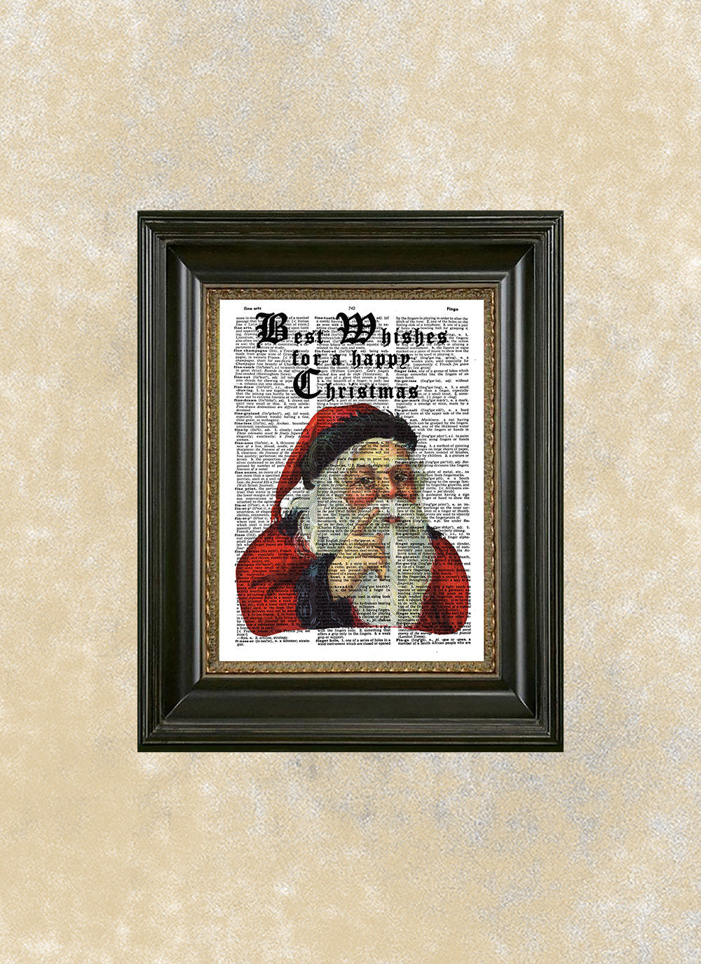 Santa Claus Dictionary Art Print With Quote, Best Wishes For A Happy  Christmas, Charming Christmas Decor, Vintage Santa Claus Illustration