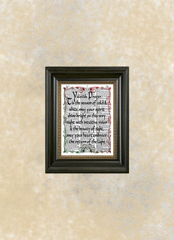 Yule, Yule Log, Yuletide Prayer, Dictionary Art, Yule Wall Art, Yule ...