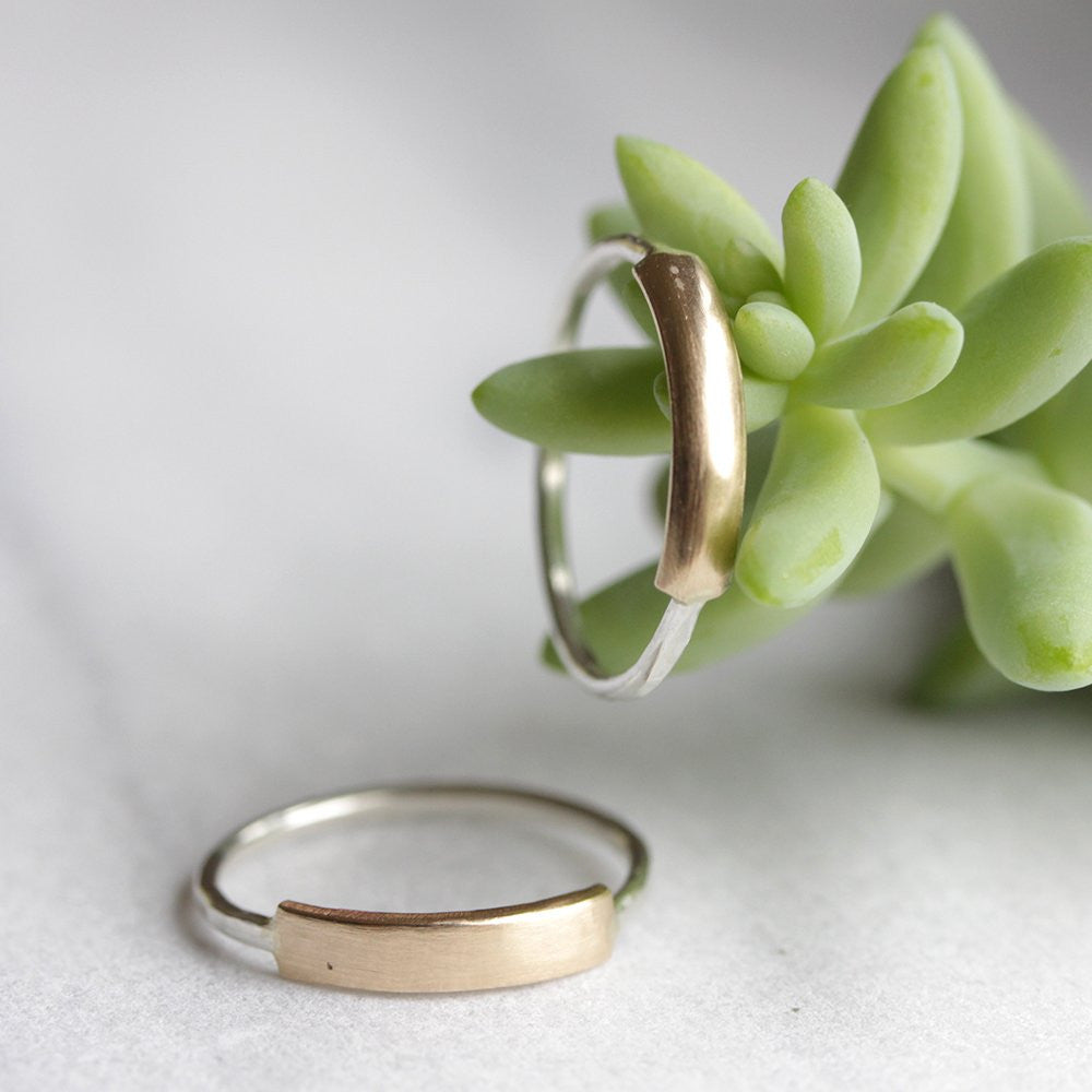 Demi Plate Bands - Simple Stacking Ring with 14k Plate Center Section