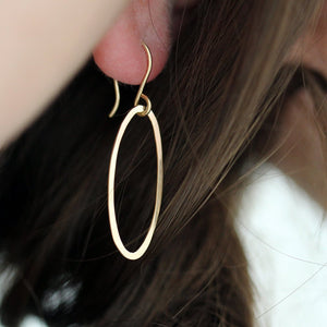 Salt Earrings - Single Elliptical Drop on French Hooks