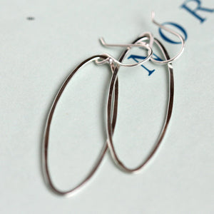 Winter Harbor Earrings - Single Elongated Ovals on French Hooks