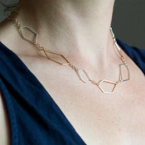 Polla Petra Necklace - Handmade Geometric Necklace of Linked Asymmetrical Shapes