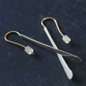 Dart Earrings - Long Drops Fastened to Handmade French Hooks