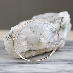 Oval Bangle - Hammered Oval Slip On Bracelet, Great For Layering
