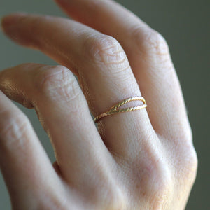 Cleo Ring - Sterling Silver or Lusterous 14k Gold Double Wrap Stacking Ring Made With Twisted Wire