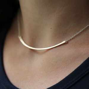 Horizon Necklace - Hammered Gently Curved Bar with Delicate Double Chain