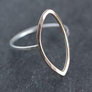 Seer Ring - Simple Hammered Open Ellipse Shape on a Slim Band