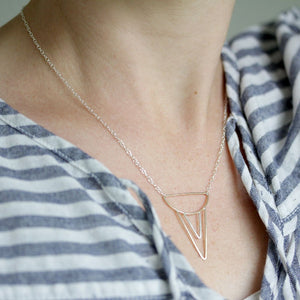 Sheartail Necklace, Handmade Geometric Pendant Design With Layered Triangles and Delicate Chain