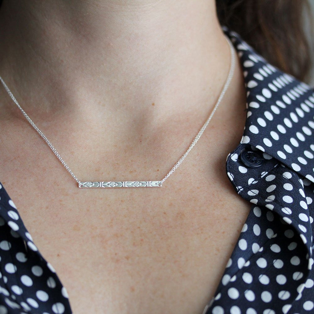 Emily Necklace - Reversible Bar Necklace With a Floral Pattern on one Side and Smooth on the Other