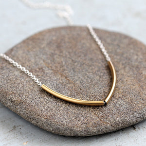 Small Point Necklace - Coupled Jointed Tube Necklace on Delicate Chain
