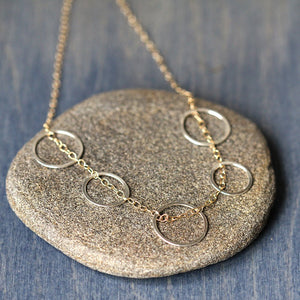 Skipping Stone Necklace - Delicate Multiple Circle and Chain Necklace