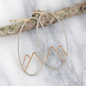Alpine Earrings - Nature Inspired Mountain Landscape Oval Dangles