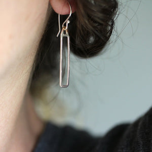 Obelisk Earrings - Column Shape Design With Triangle Top - Two Lengths Available