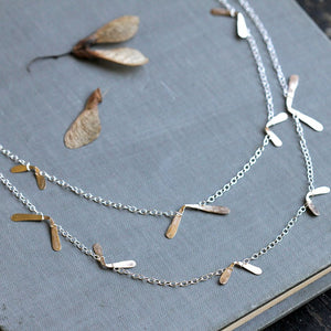 Flutter Double Wrap Necklace, Long Nature Inspired Handmade Design, Great for Layering