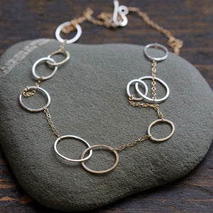 Amelia Necklace in sterling silver and 14k gold fill mix | Rebecca Haas Jewelry